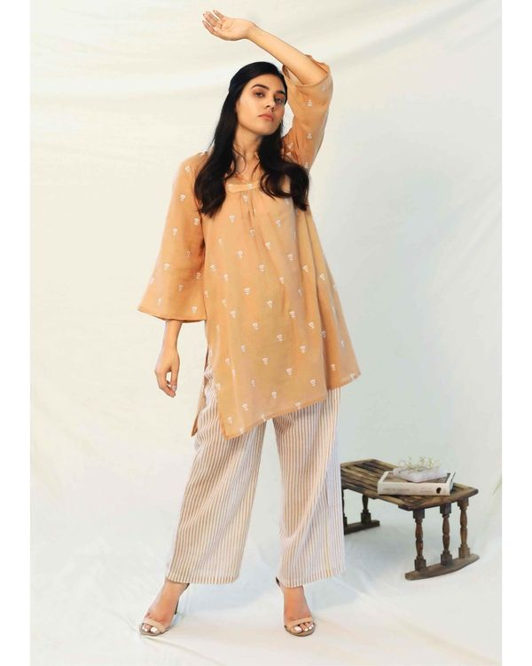 Beige boota collared top with pants - Set Of Two 3