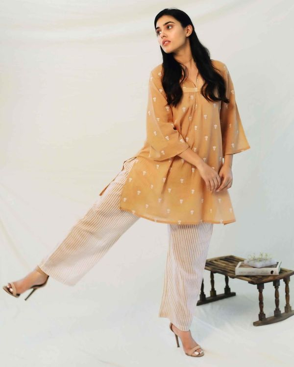 Beige boota collared top with pants - Set Of Two 2