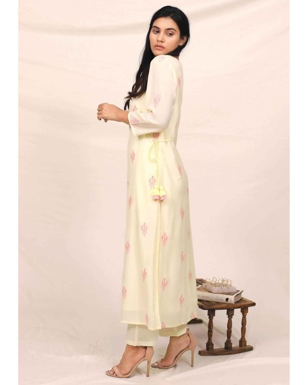 Lemon yellow embroidered kurta and pants with stole - Set Of Three 3