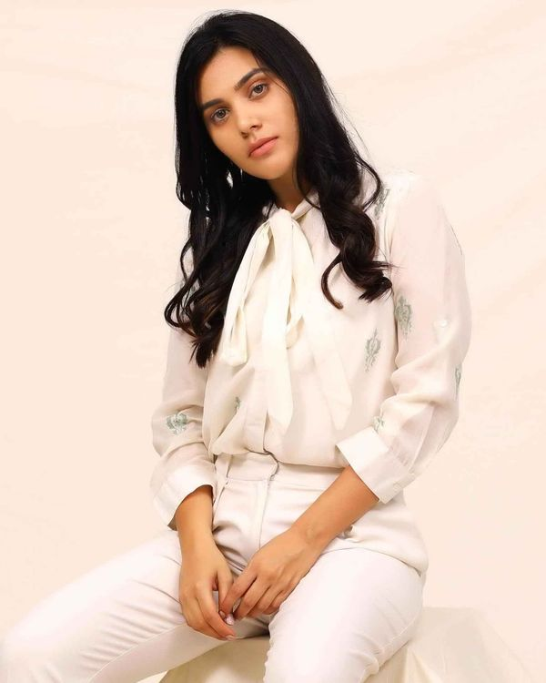 White moroccan embroidered shirt 1
