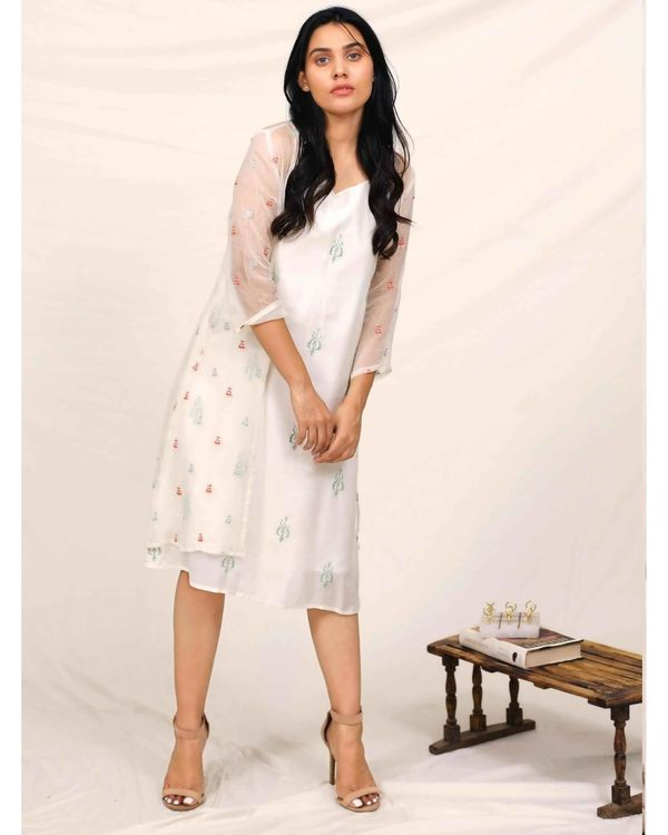 White embroidered dress with chiffon cover up - Set Of Two 3