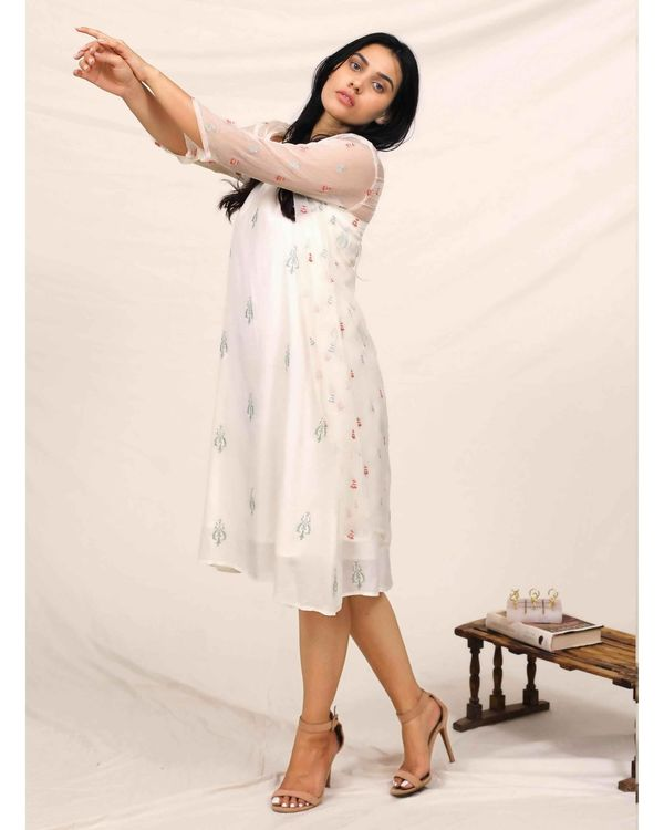 White embroidered dress with chiffon cover up - Set Of Two 2