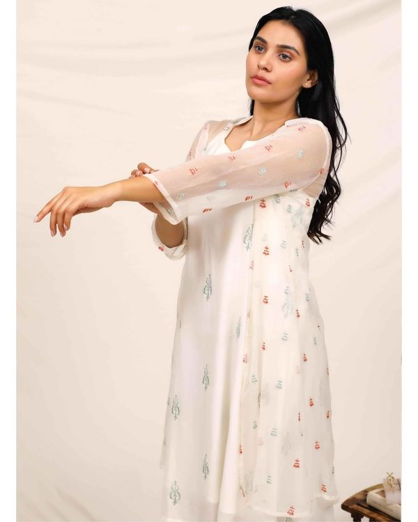White embroidered dress with chiffon cover up - Set Of Two 1