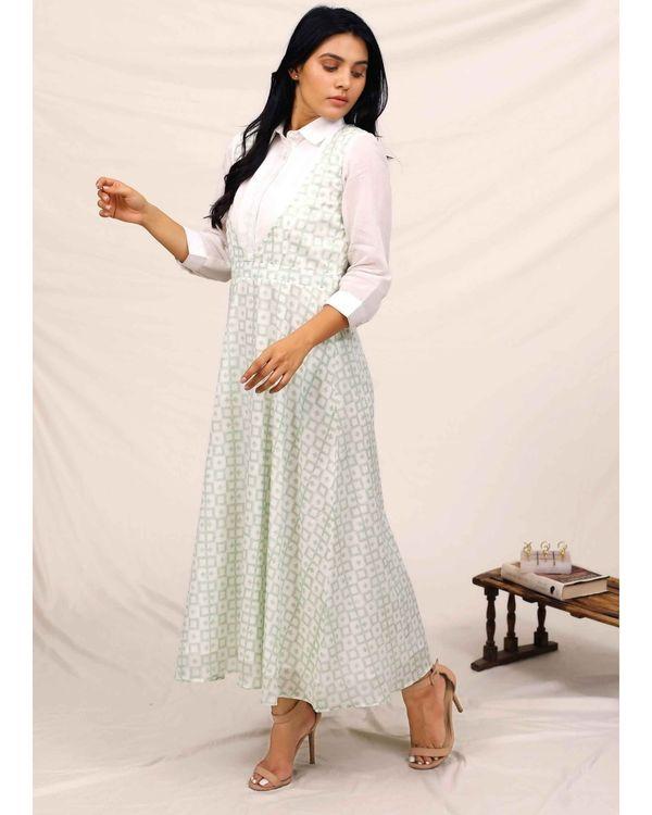 Mint green block printed asymmetrical shirt dress 3