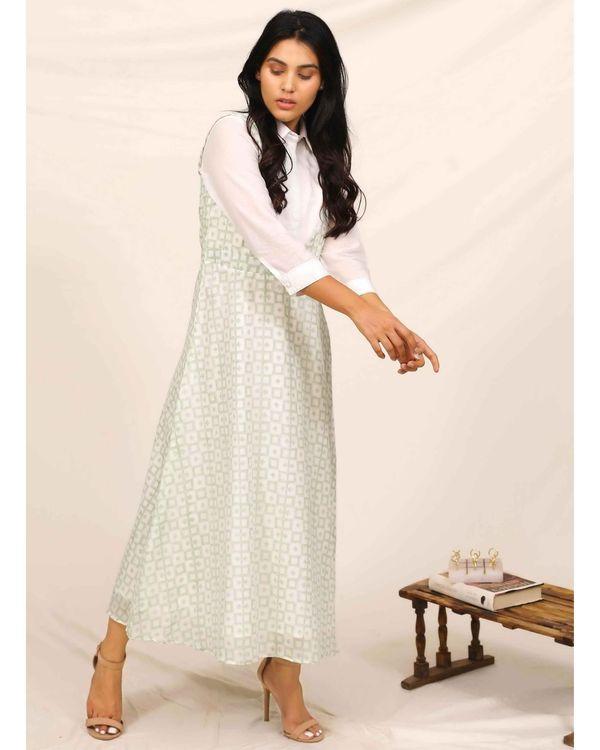 Mint green block printed asymmetrical shirt dress 2