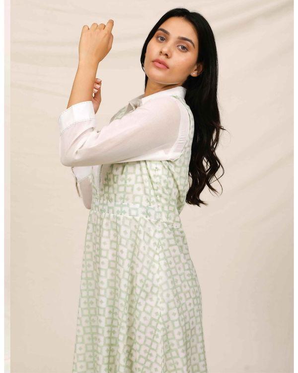 Mint green block printed asymmetrical shirt dress 1