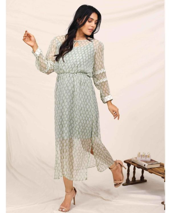 Mint green hand block printed chiffon dress with slip - Set Of Two 3
