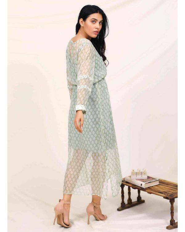 Mint green hand block printed chiffon dress with slip - Set Of Two 2