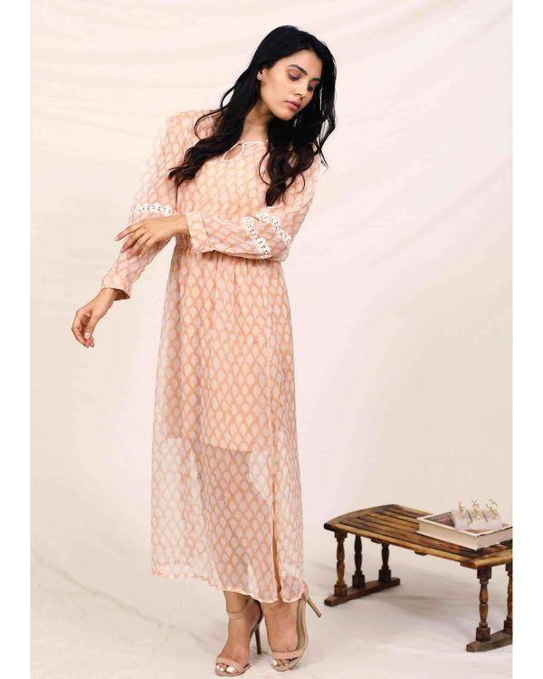 Peach hand block printed chiffon dress with slip - Set Of Two 3