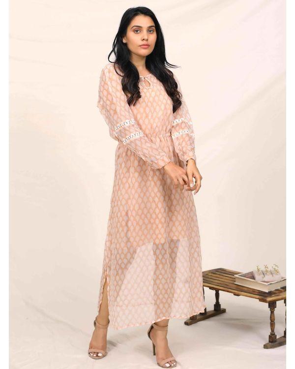 Peach hand block printed chiffon dress with slip - Set Of Two 2