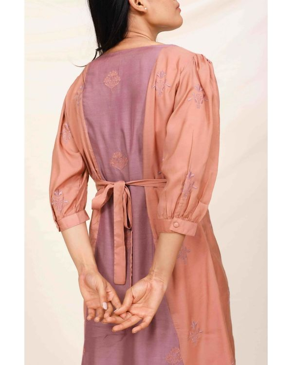 Purple moroccan embroidered paneled dress 3