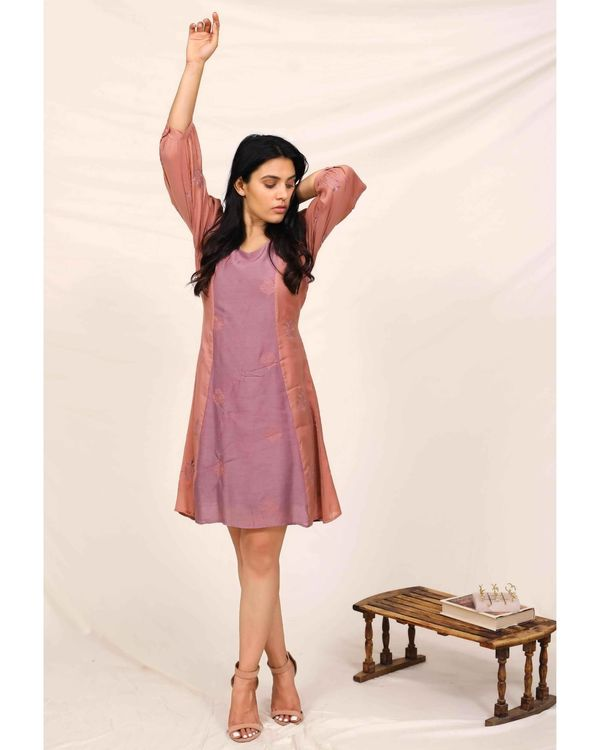 Purple moroccan embroidered paneled dress 1