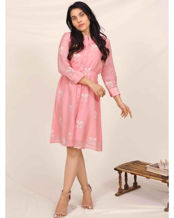 Pink moroccan embroidered dress 3