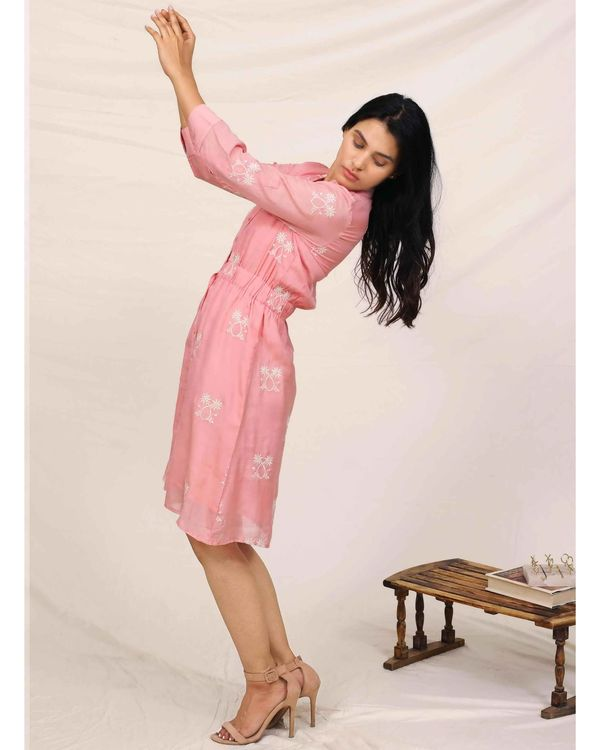 Pink moroccan embroidered dress 2
