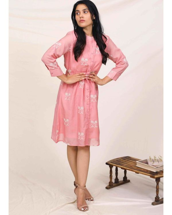 Pink moroccan embroidered dress 1