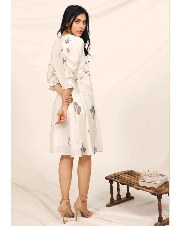 White moroccan printed embroidered dress 3