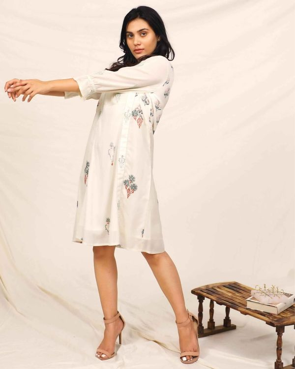 White moroccan printed embroidered dress 2