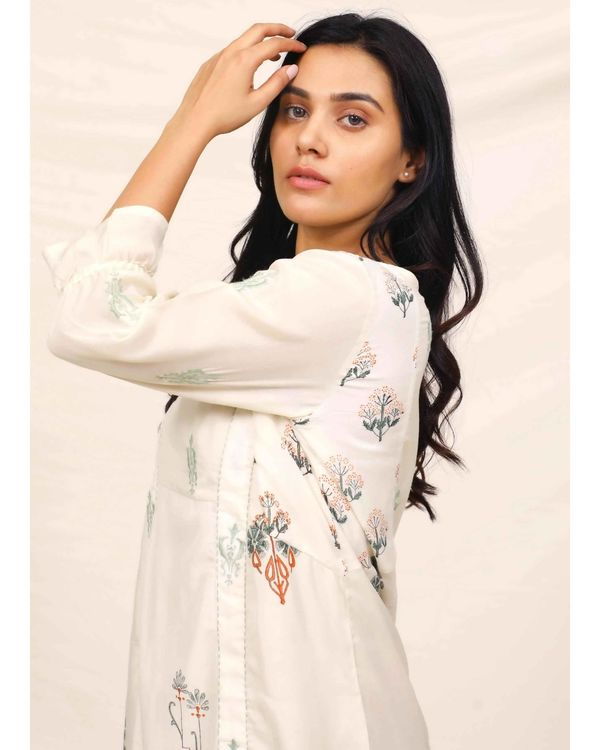 White moroccan printed embroidered dress 1