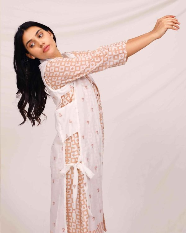 Peach geometric button down dress with embroidered jacket - Set Of Two 1