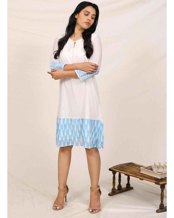 Aqua blue and white geometric hand printed dress 3