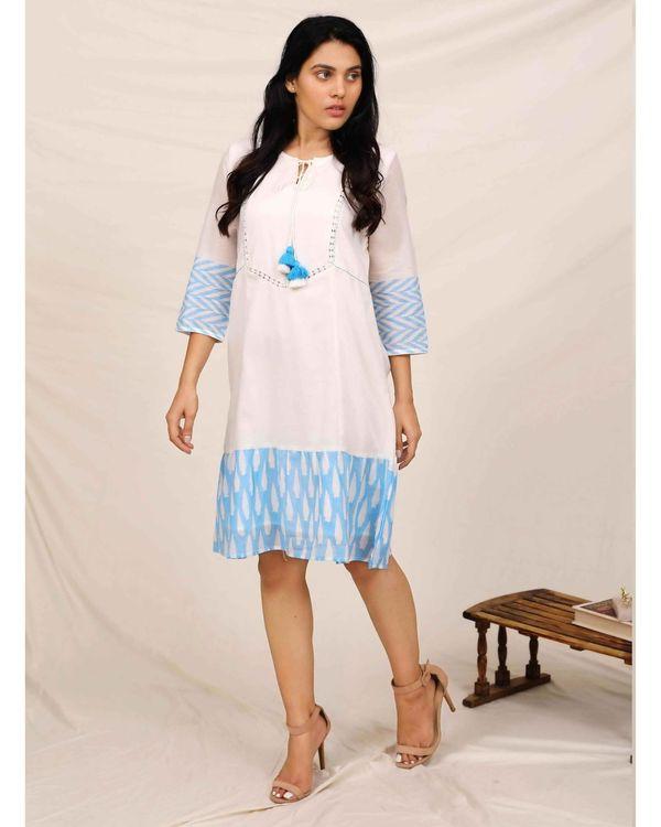 Aqua blue and white geometric hand printed dress 2