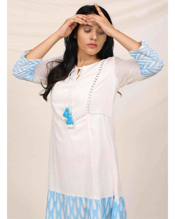 Aqua blue and white geometric hand printed dress 1