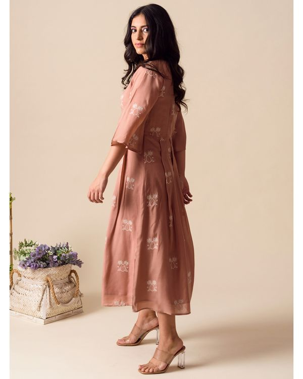Deep pink embroidered pleated dress 3