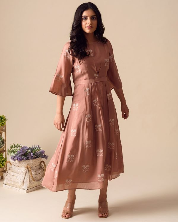 Deep pink embroidered pleated dress 2