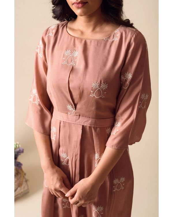Deep pink embroidered pleated dress 1