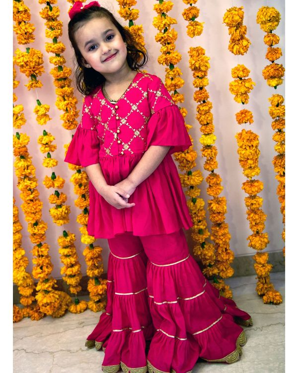 Rani pink zari peplum kurta with sharara - Set Of Two 1