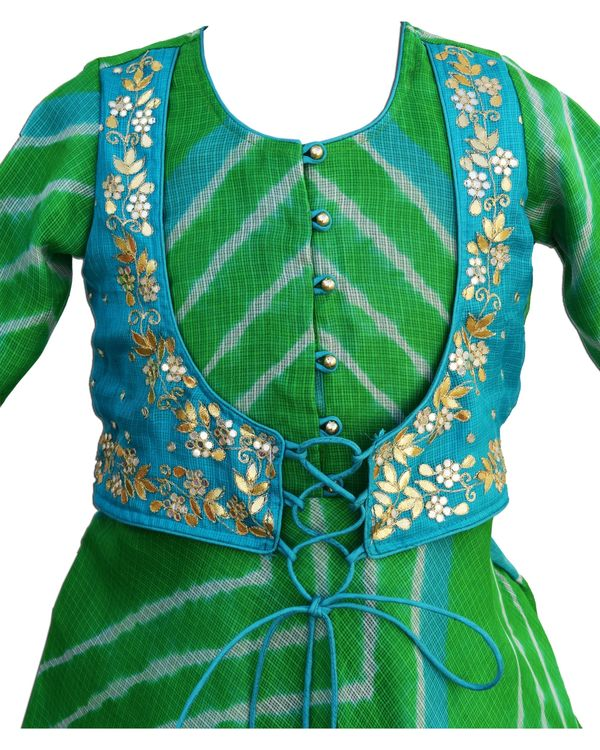 Green leheriya flared dress with attached jacket 2