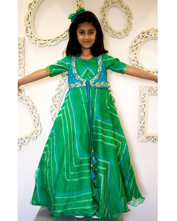 Green leheriya flared dress with attached jacket 1