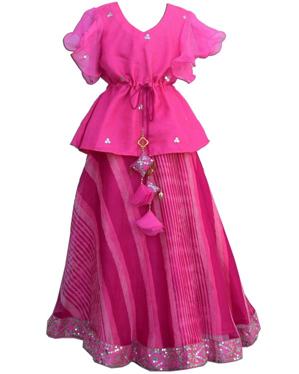 Pink ruffled peplum top and leheriya skirt - Set Of Two 2