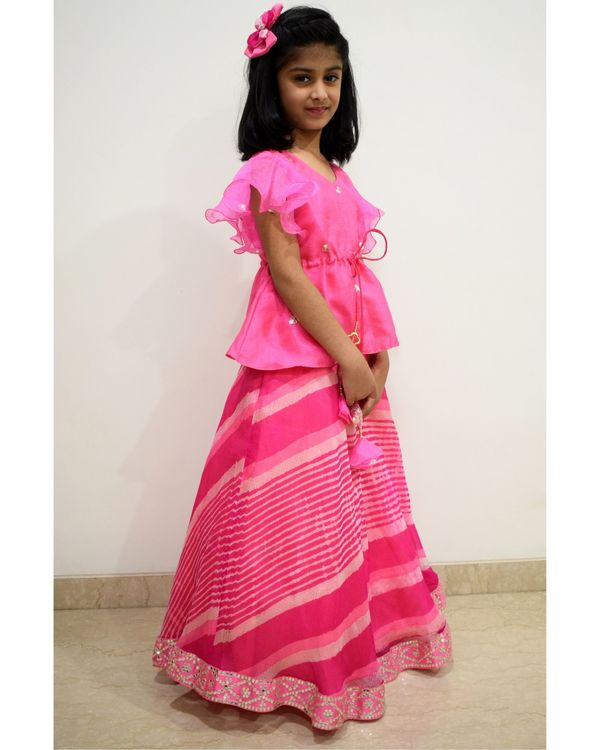 Pink ruffled peplum top and leheriya skirt - Set Of Two 1