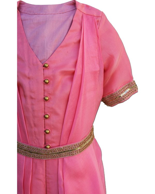Pink draped jumpsuit with embellished belt - Set Of Two 1