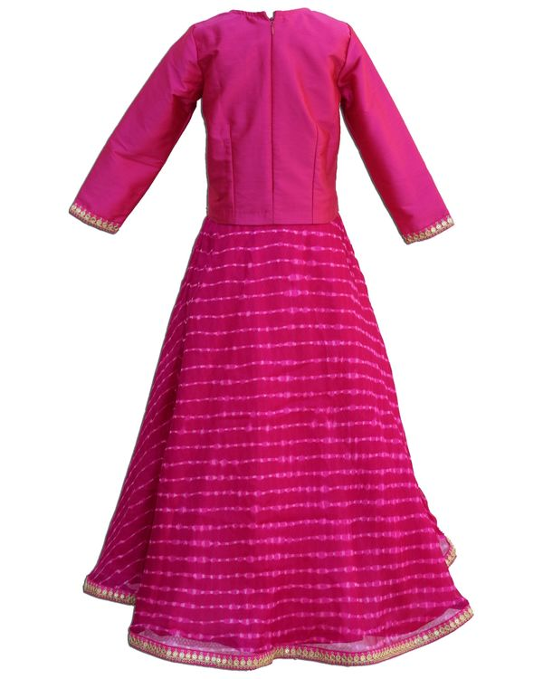 Rani pink slit top with mothra skirt - Set Of Two 2