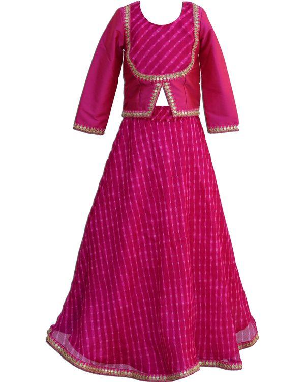 Rani pink slit top with mothra skirt - Set Of Two 1
