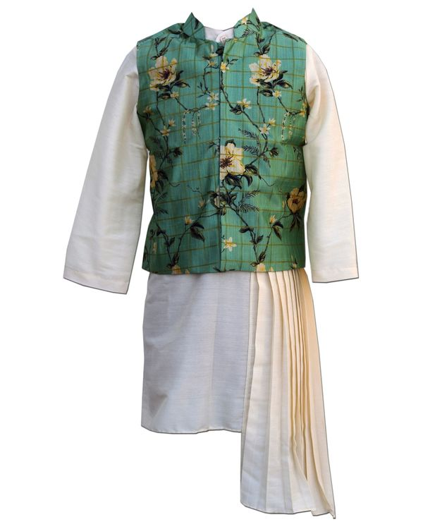 Green floral printed jacket with asymmetrical pleated kurta and pants - Set Of Three 1