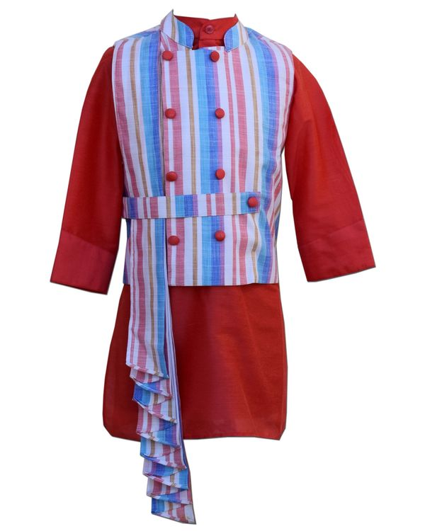 Striped pleated jacket with coral kurta and pants - Set Of Three 1