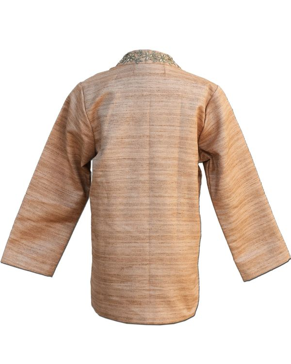 Beige zardozi work jodhpuri kurta with pants - Set Of Two 2