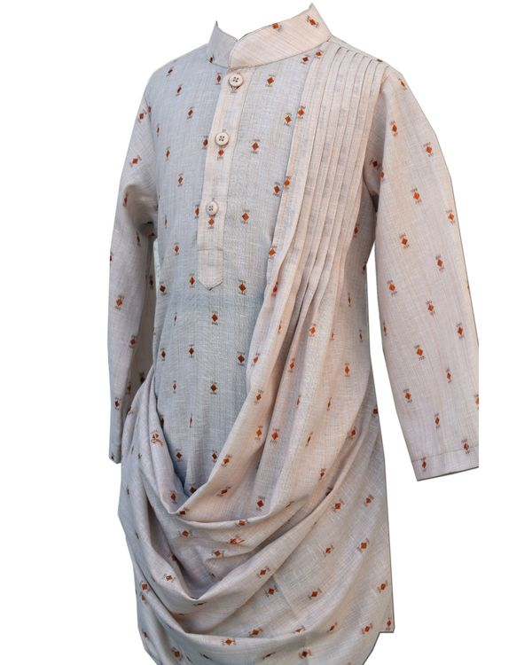 Beige draped pleated kurta and pants - Set Of Two 1