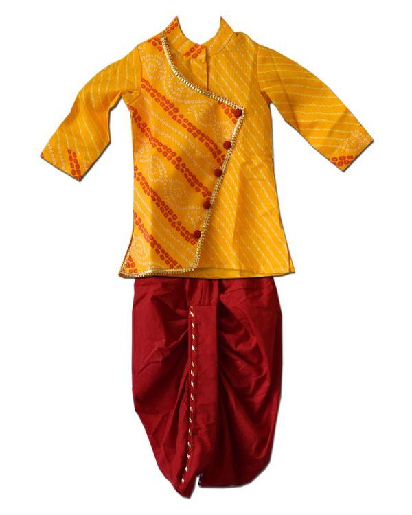 Mustard yellow overlap bandhini kurta with dhoti pants - Set Of Two 1