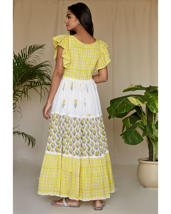 Lemon yellow floral printed tiered maxi dress 3