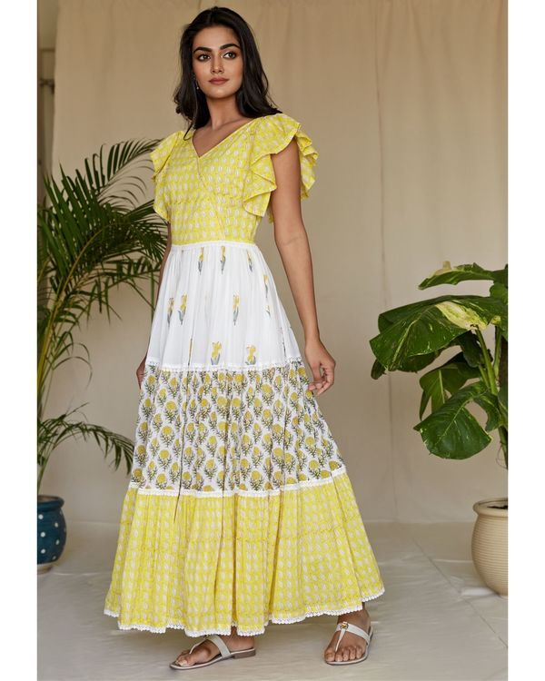 Lemon yellow floral printed tiered maxi dress 2