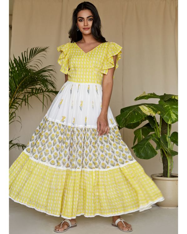 Lemon yellow floral printed tiered maxi dress 1