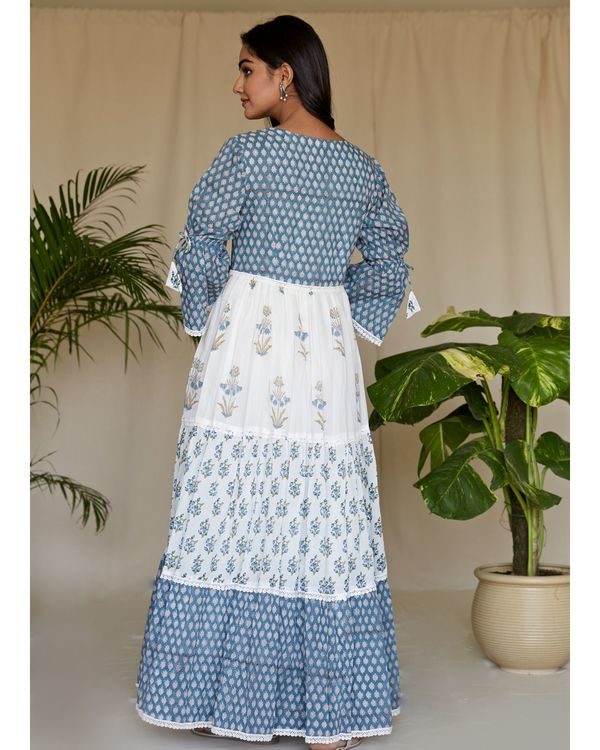 Blue floral printed tiered maxi dress 3