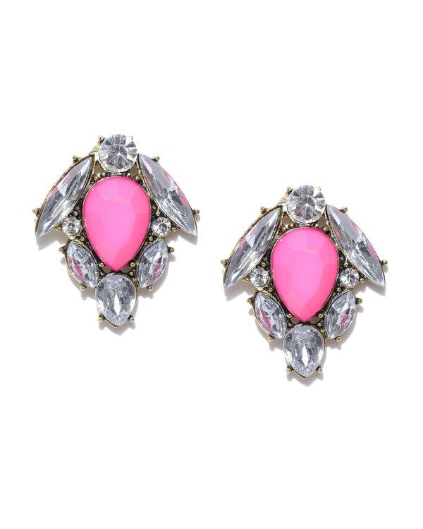 Pink tulip crystal studs 1