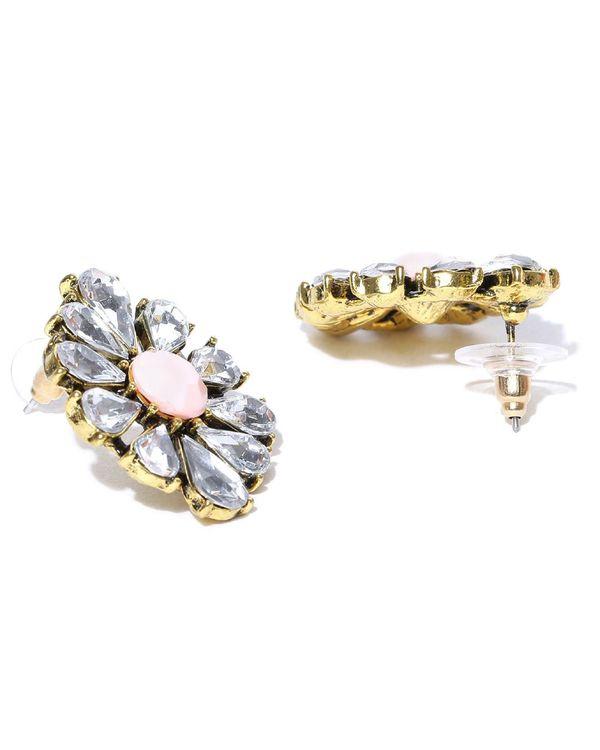 Peach floral crystal studs 2