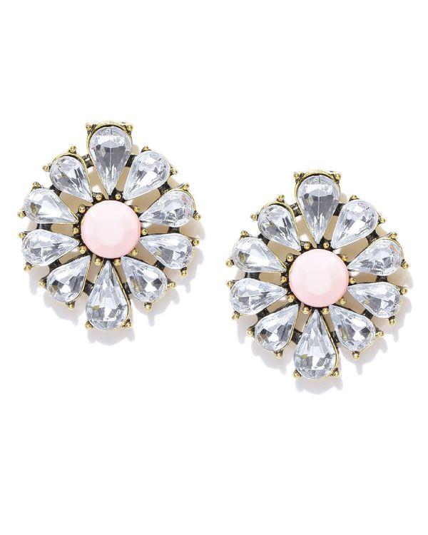 Peach floral crystal studs 1