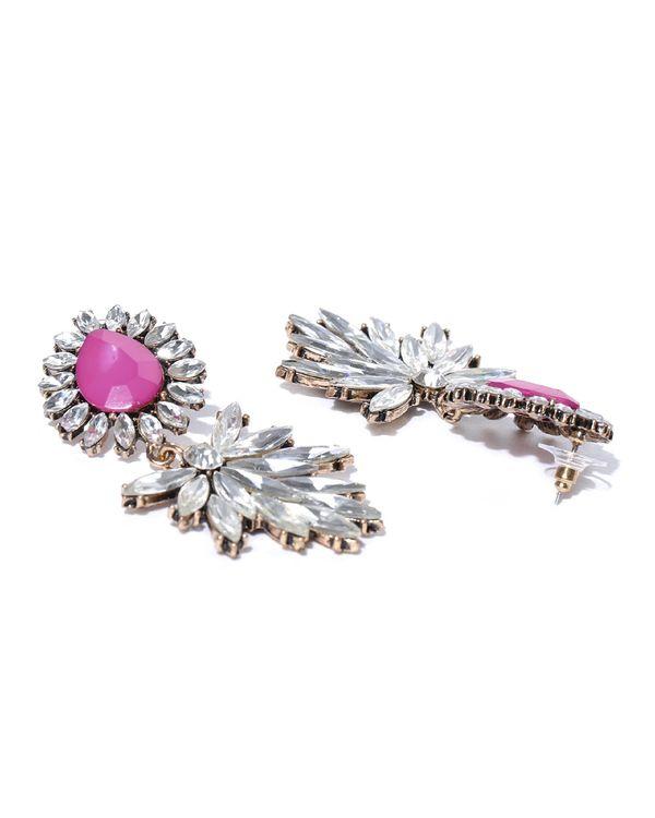 Pink almond shaped crystal drop earrings 2